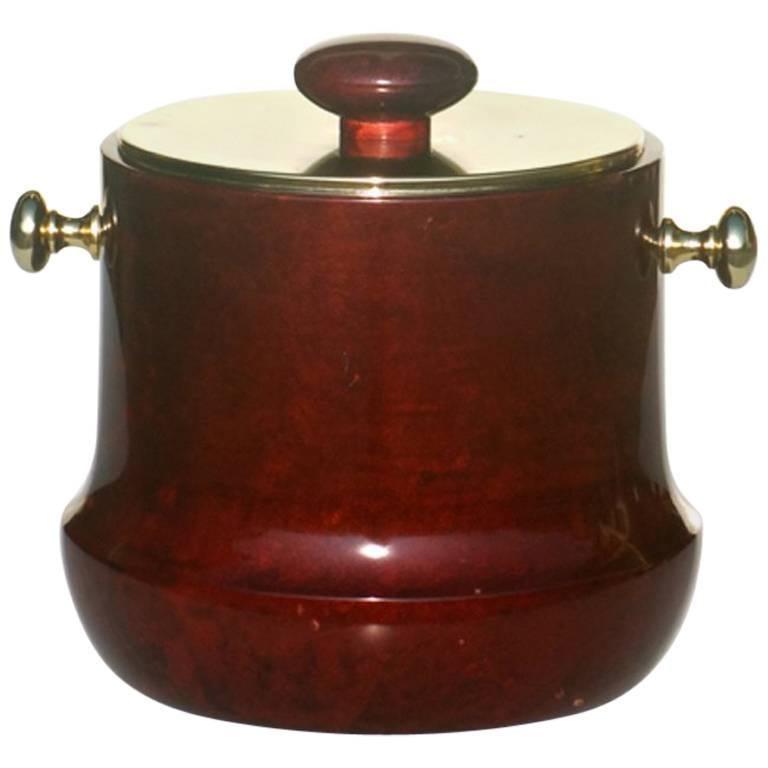 1950s by Aldo Tura Italian Midcentury Lacquered Goatskin Ice Bucket