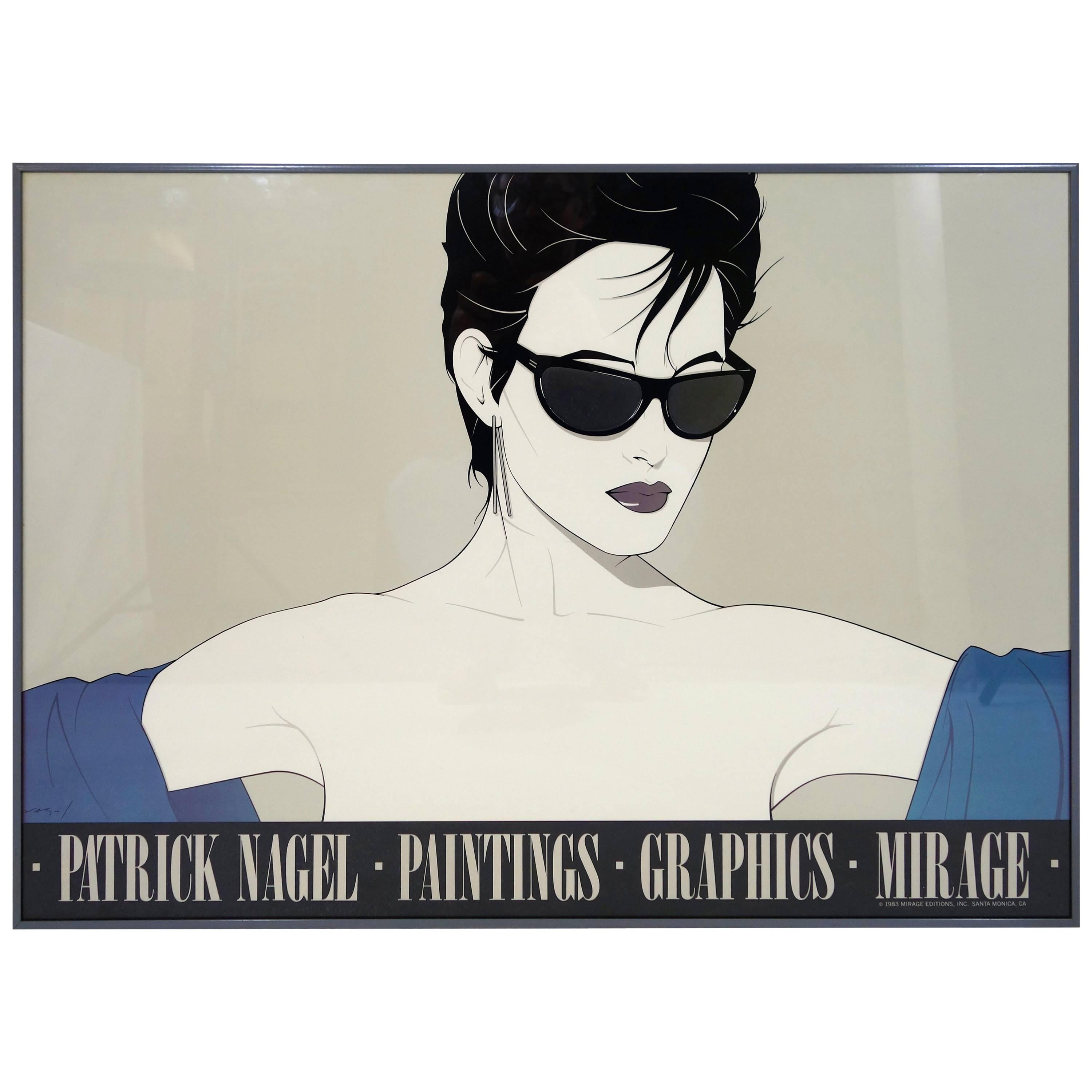 """""""Sunglasses (Black)"""" Poster by Patrick Nagel for Mirage Editions"""