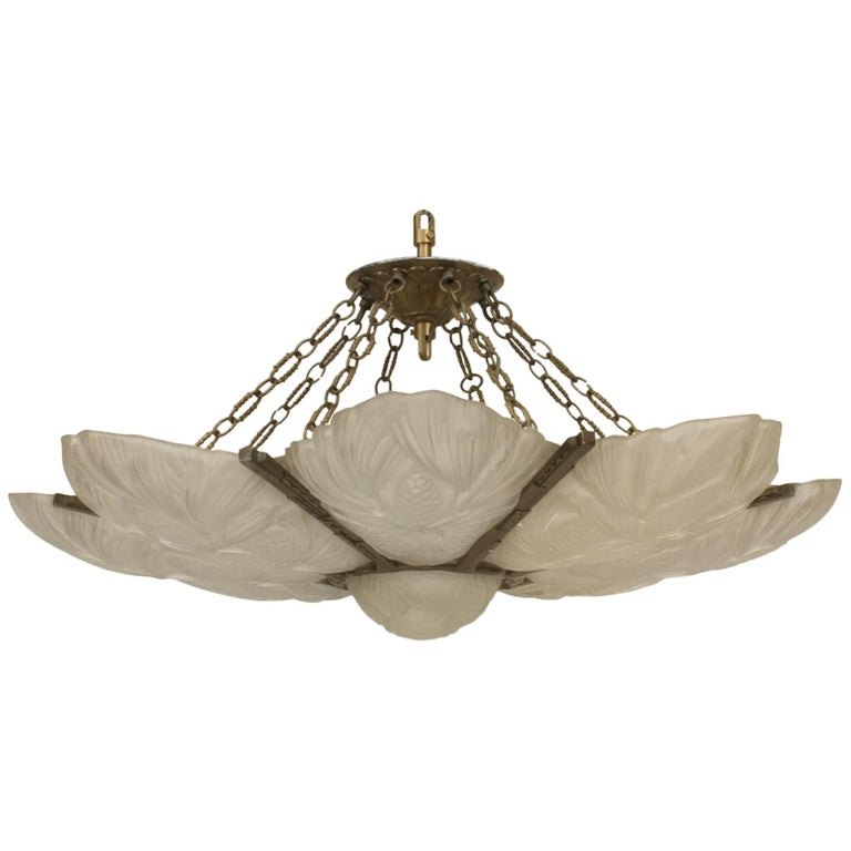 French Art Deco Chandelier with Eight Frosted Floral Design Panels