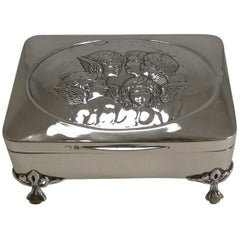 Antique English Sterling Silver Jewelry Box Cherubs / Angels