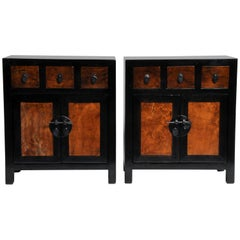 Pair of Chinese Side Tables with Three Drawers and a Shelf