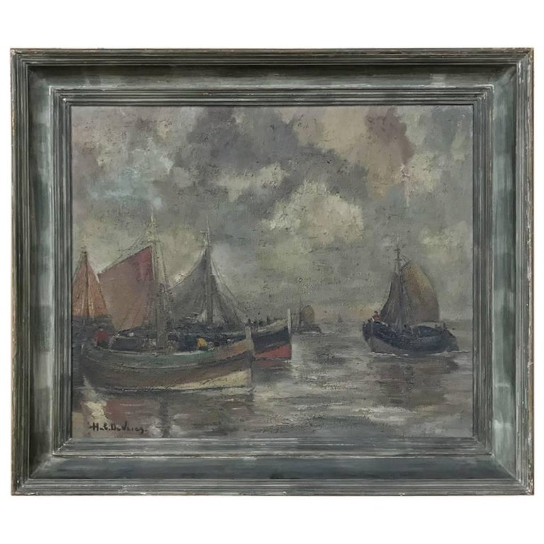Midcentury Framed Oil Painting on Canvas by Hubert De Vries