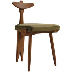 Guillerme and Chambron Oak Tripod Side Chair