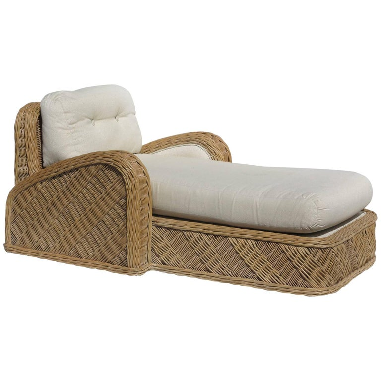 Jay Spectre Steamer Wicker Chaise Longue Chair For Sale