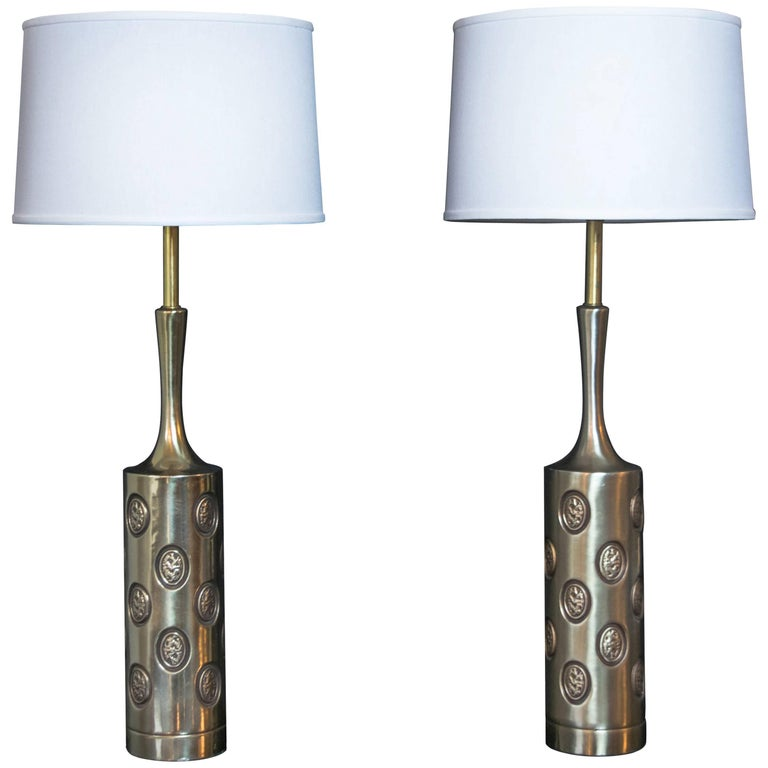 "Pair of Tall Brass Rembrandt ""Coin"" Lamps"