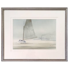 Nantucket Watercolor of Catboat and Steamship at Brant Point by Robert Spring