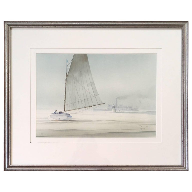 Nantucket Watercolor of Catboat and Steamship at Brant Point by Robert Spring For Sale