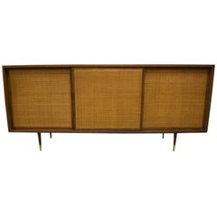 1960 American Walnut Credenza with Woven Cane Doors