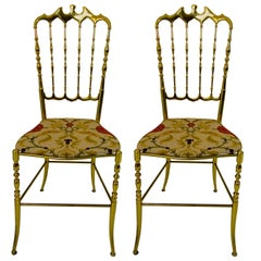 Chiavari Pair of Brass Chairs