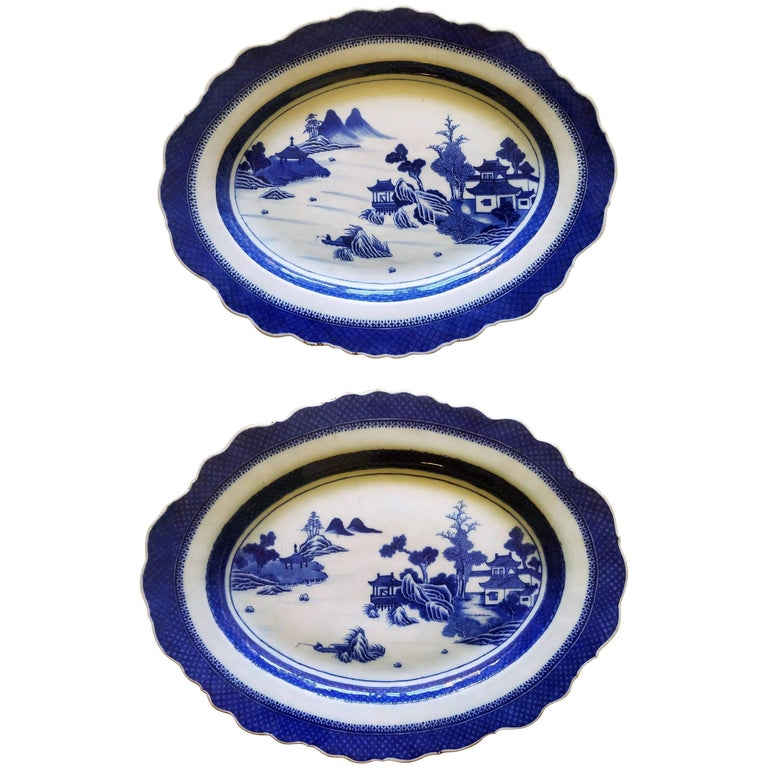 Chinese Export Blue & White Porcelain Large Silver-Form Shaped Dishes