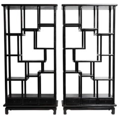 Pair of Chinese Display Cabinets with Three Drawers