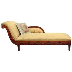 Early English 1850s Era Satinwood Adams Painted Chaise Longue Recamier Daybed