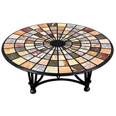 Vintage Modern Pietra Dura Specimen Marble Coffee Table with Iron Base