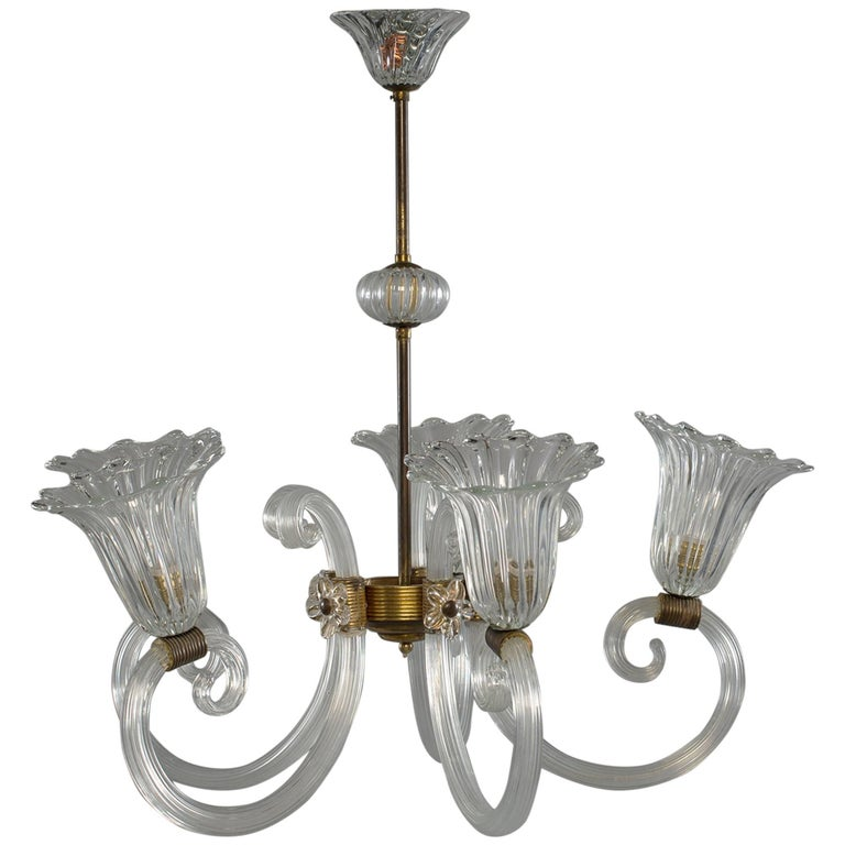 Ercole Barovier Art Deco Clear Blown Glass Chandelier With Brass Fittings For