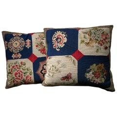 Pair of European Needlework Pillows, circa 1850, 1542p and 1543p