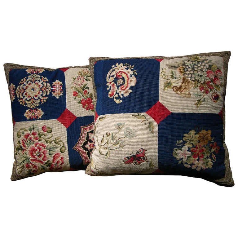 Pair of European Needlework Pillows, circa 1850, 1542p and 1543p For Sale