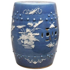Chinese Export Porcelain Blue-Ground Garden Seat, circa 1865