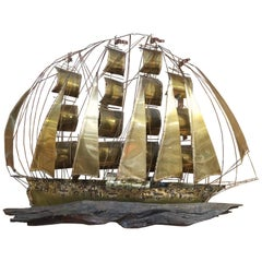 Midcentury Brutalist Brass Clipper Ship Wall Sculpture
