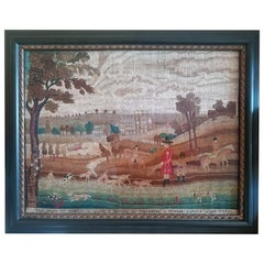 Hunting-Subject Large Needlework Picture of The Duke of Kingston, Dated 1792