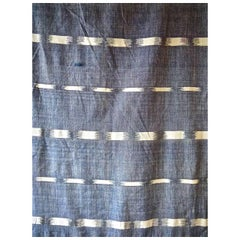 19th Century French Antique Woven Indigo Flamme Ikat Cotton Panel