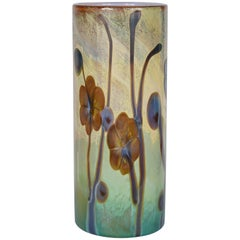 Large Cenedese Murano Vase with Stylized Flowers