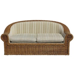 Cane Loveseat by Rattan Works of Atlanta, 1980s