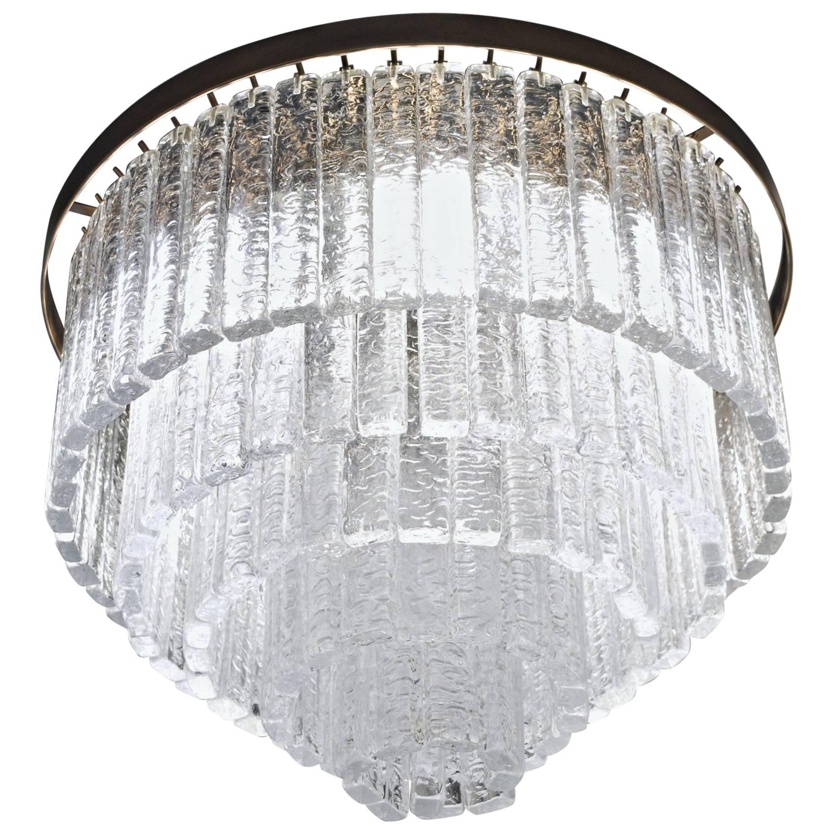 Round 5+1 Tiers Chandelier, Murano, Clear Glass 1990s, Bronze Finish Metal Ring