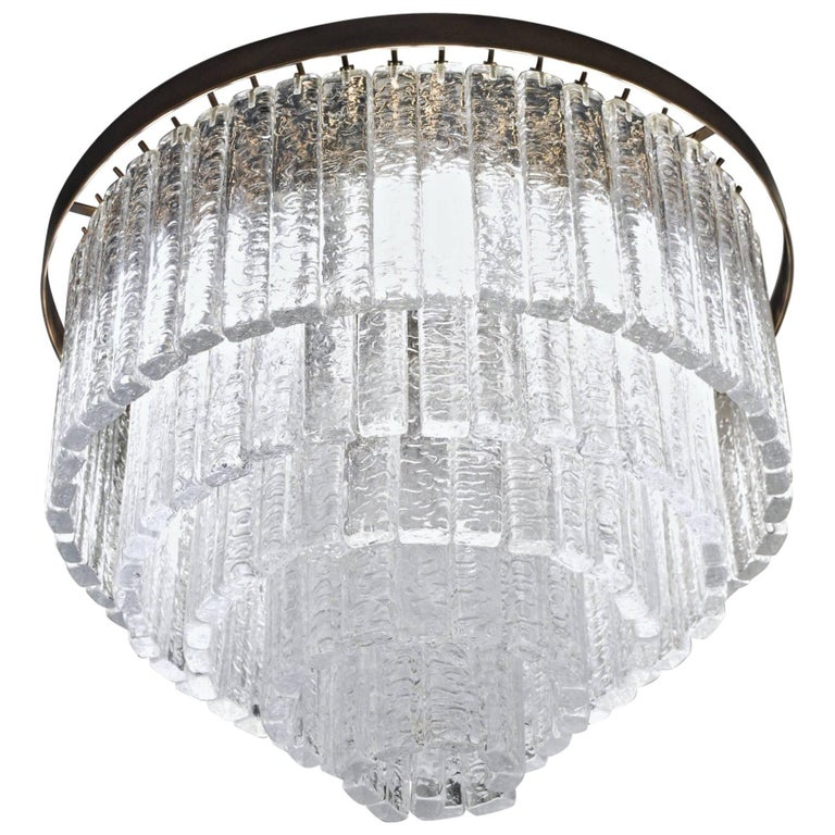 Round 5+1 Tiers Chandelier, Murano, Clear Glass 1990s, Bronze Finish Metal Ring For Sale