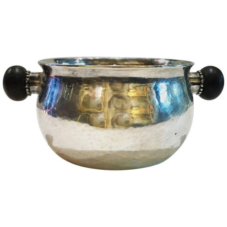 Georg Jensen sterling-silver sugar bowl with ebony handles, ca. 1935, offered by Asheville Fine Arts