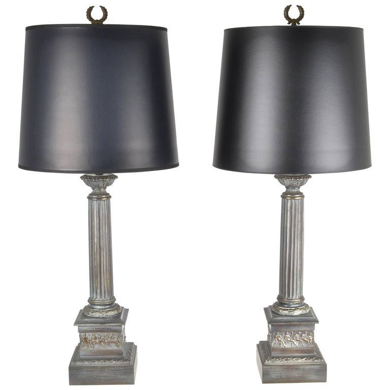 Pair of Neoclassical Column Lamps, USA, circa 1950s