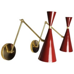 Modern Brass & Blood Red Enamel Monolith Reading Lamp, Blueprint Lighting