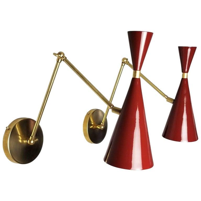Modern Brass & Blood Red Enamel Monolith Reading Lamp, Blueprint Lighting