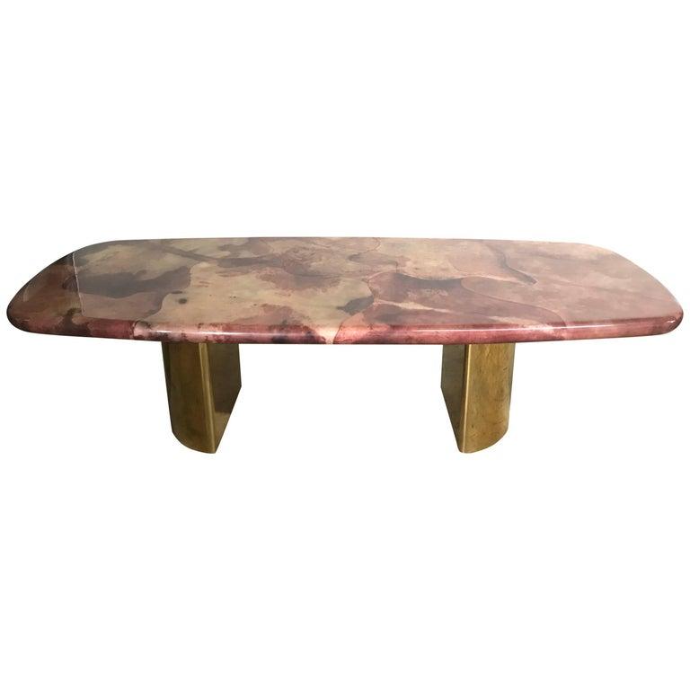 Rare Aldo Tura Goatskin and Brass Dining Table
