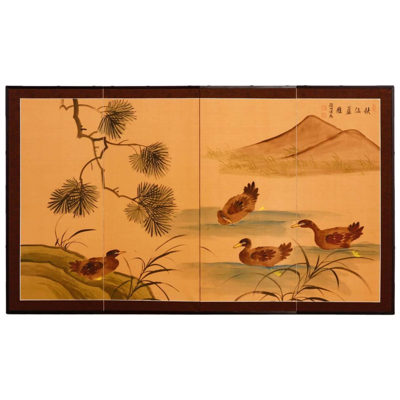 Japanese Style Four Panel Folding Screen with Ducks