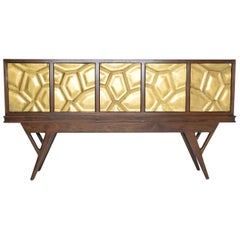 Walnut Credenza with Antique Gold Finish Honeycomb Front