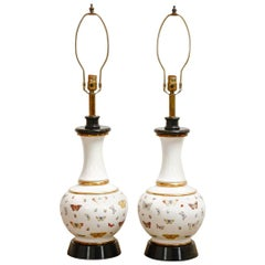 Pair of Decalcomania Style Butterfly Specimen Porcelain Table Lamps