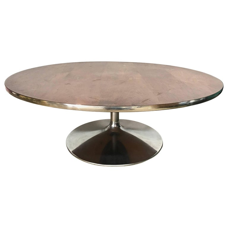Rare Walnut and Chrome Tulip Coffee or Cocktail Table by Lane