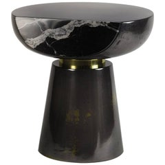 Ya Yo Liquid Metal and Resin Side Table with Marble Face and Brass Detailing