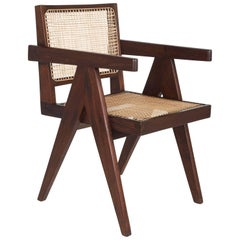 Chandigarh Teak and Wicker Office or Armchair by Pierre Jeanneret