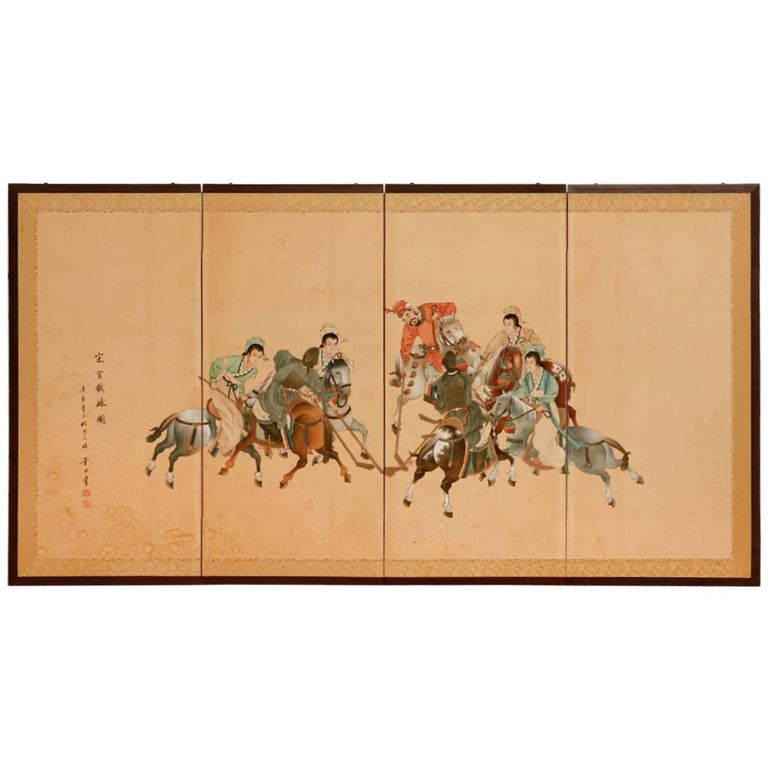 Asian Four Panel Folding Equestrian Polo Screen