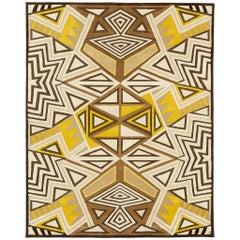 Angela Adams Galactic, Yellow and Brow Rug, Geometric, Wool, Handcrafted, Modern