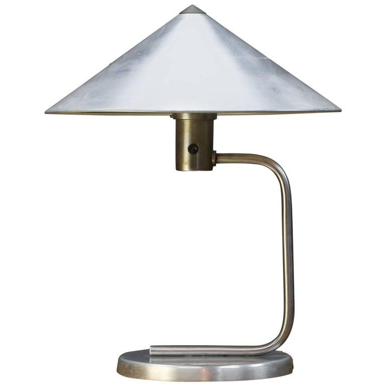 Rare 1930s Kurt Versen Machine Age Table Lamp in Polished Aluminium