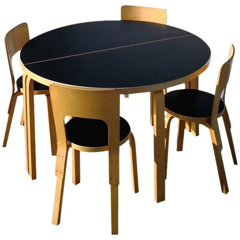 Set of Alvar Aalto Furniture by Artek of Finland Designed in 1930s