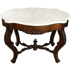 19th Century Victorian Carved Rosewood and Marble Table