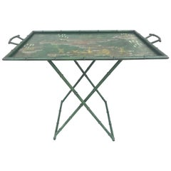 Fabulous 1950s Italian Chinoiserie Tole Faux Bamboo Tray on Stand