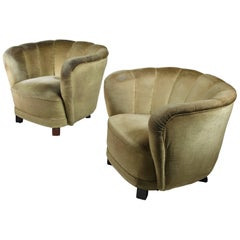 Pair of Club Chairs with Green Velour Upholstery, Denmark, 1940s