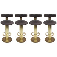 "Set of Four ""Excalibur"" Bar Stools in Channeled Brass by Design for Leisure"