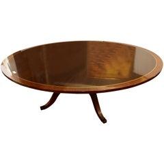 Palatial Georgian Style Banded Flame Mahogany Circular Dining Table