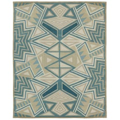 Angela Adams Galactic, Blue and Grey Rug, Geometric, Wool, Handcrafted, Modern