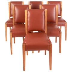 André Sornay, Important Set of Six Walnut & Leather Dining Chairs, France 1930's